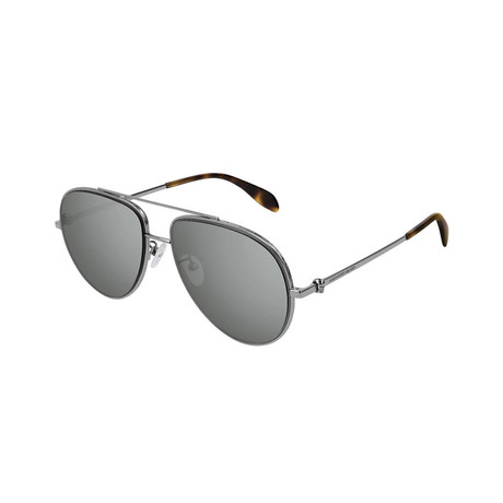 Alexander McQueen // Unisex Pilot Aviator Skull Sunglasses // Silver