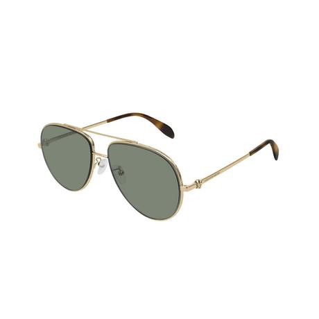 Alexander McQueen // Unisex Pilot Aviator Skull Sunglasses // Gold