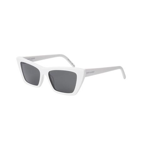 Saint Laurent // Unisex Cat-Eye Sunglasses // White