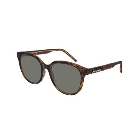 Saint Laurent // Unisex Logo Round Sunglasses // Brown