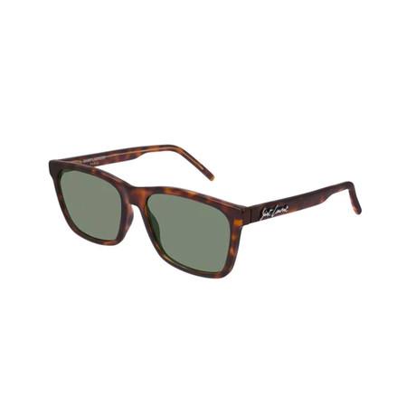 Saint Laurent // Unisex Logo Square Sunglasses // Brown
