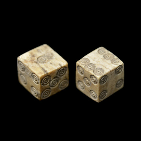 Pair of ancient Roman bone gaming dice