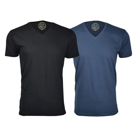 Semi-Fitted V-Neck T-Shirt // Black + Navy // Pack of 2 (S)
