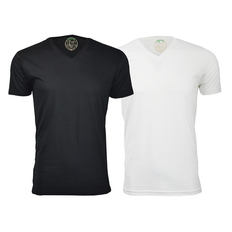 Semi-Fitted V-Neck T-Shirt // Black + White // Pack of 2 (S)