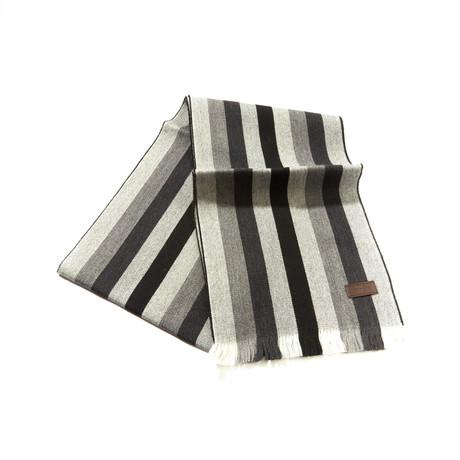 Merino Wool Striped Scarf // Gray + Black