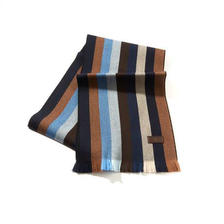 Merino Wool Striped Scarf // Navy + Brown