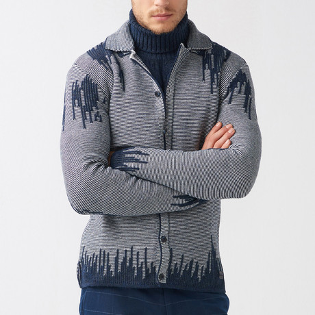 Grayson Wool Tricot Cardigan // Dark Blue (S)