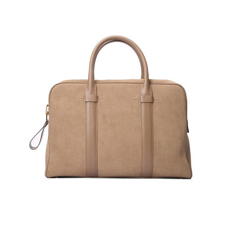 Buckley Smooth Suede Briefcase // Medium // Beige