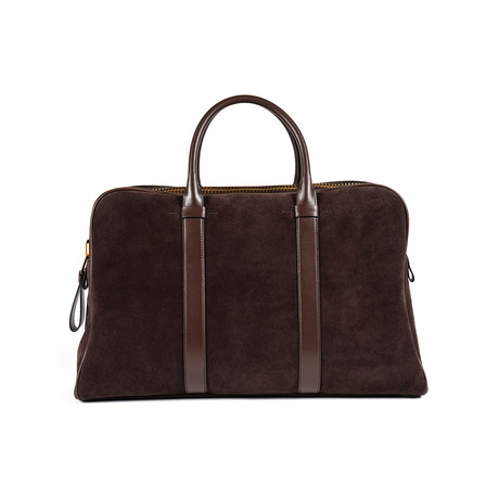 Buckley Smooth Suede Briefcase // Large // Dark Brown