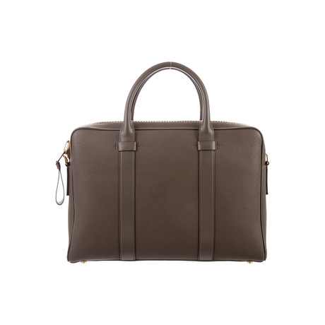 Buckley Grained Leather Briefcase // Slim // Brown