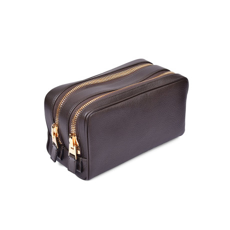 Men's Grained Leather Double Zip Toiletry Bag // Dark Brown