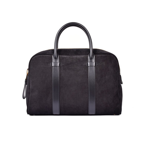 Buckley Smooth Suede Briefcase // Large // Black