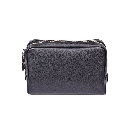Men's Grained Leather Toiletry Bag // Black