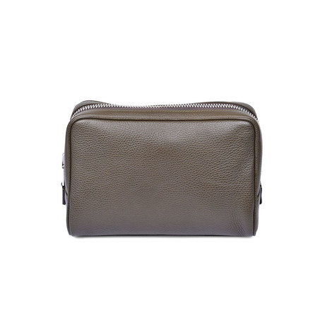 Men's Grained Leather Toiletry Bag // Green