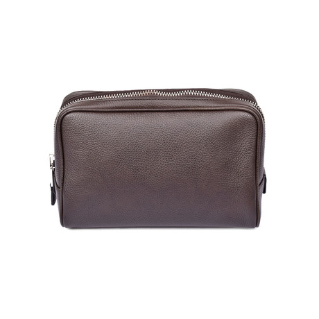Men's Grained Leather Toiletry Bag // Dark Brown