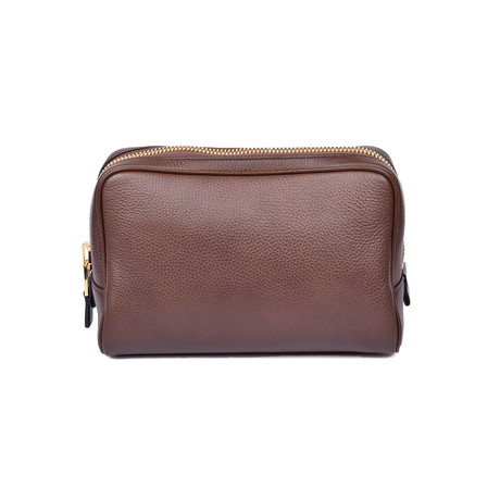 Men's Grained Leather Toiletry Bag // Cognac