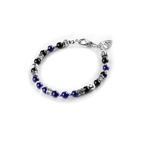 Aceveo Bracelet // Silver + Blue + Black
