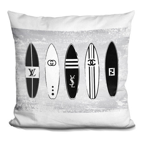 "Surf Boards Throw Pillow (16"" x 16"")"
