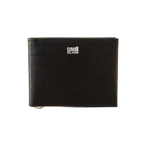 Cavalli Class // Textured Money-Clip Bi-Fold Wallet // Brown
