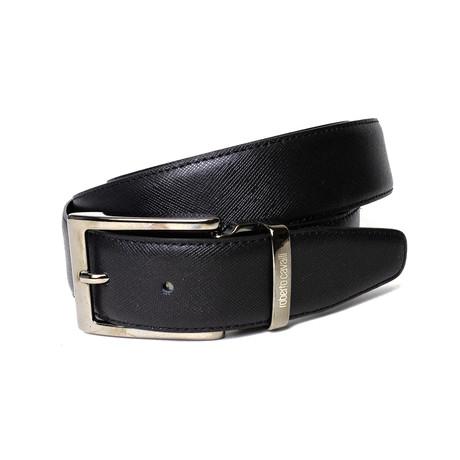 Roberto Cavalli // Textured Leather One-Size Belt // Black