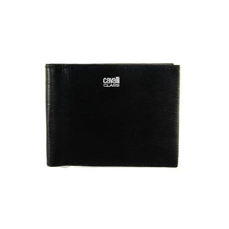 Cavalli Class // Textured Money-Clip Bi-Fold Wallet // Black