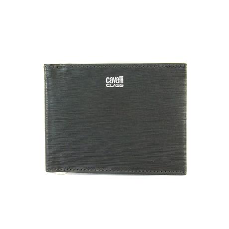 Cavalli Class // Textured Money-Clip Bi-Fold Wallet // Gray