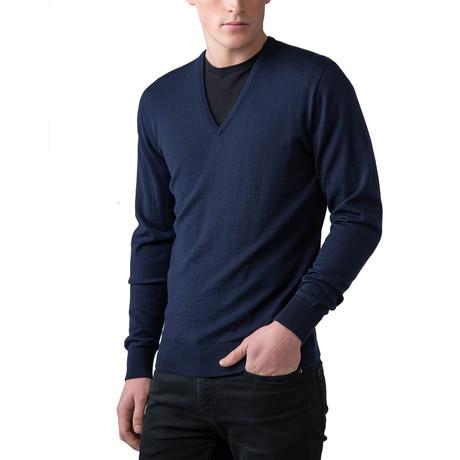 Merino Wool V-Neck Sweater // Navy (XS)