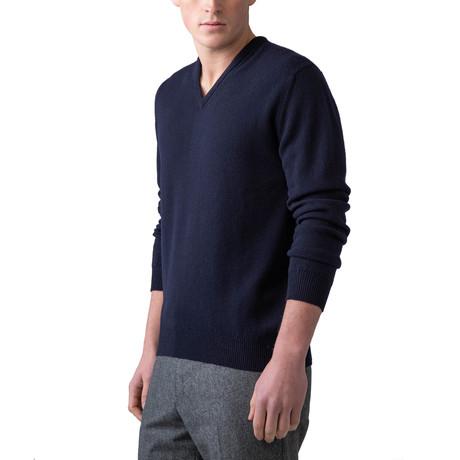 Wool V-Neck Sweater // Navy (XS)
