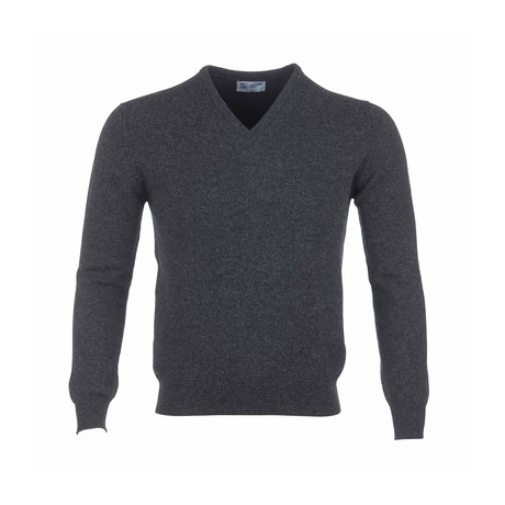 Wool V-Neck Sweater // Charcoal (XS)