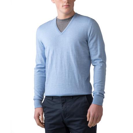 Merino Wool V-Neck Sweater // Blue (XS)