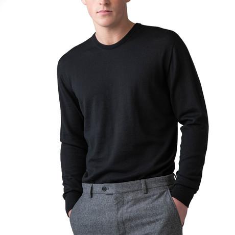 Merino Wool Crew Neck Sweater // Black (XS)