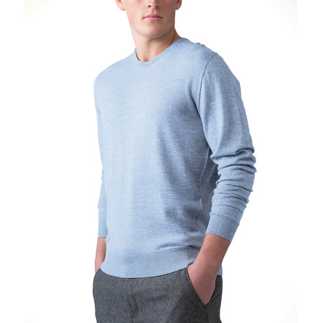 Merino Wool Crew Neck Sweater // Blue (XS)