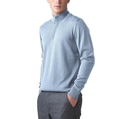 Merino Wool 1/4 Zip Sweater // Blue (XS)