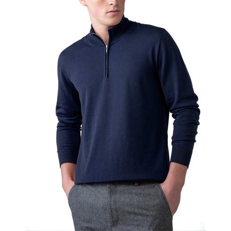 Merino Wool 1/4 Zip Sweater // Navy (XS)