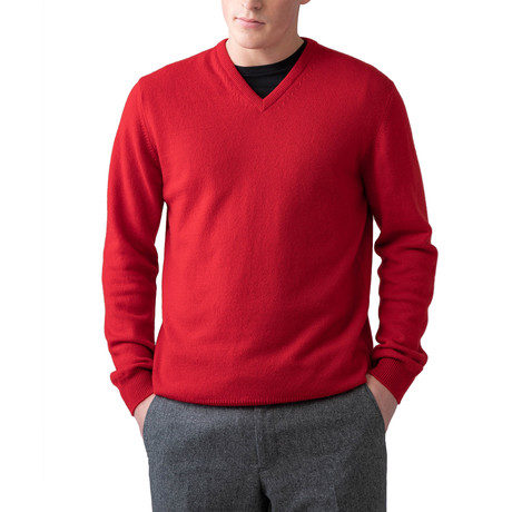 Cashmere V-Neck Sweater // Classic Red (XS)
