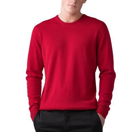 Merino Wool Crew Neck Sweater // Classic Red (XS)