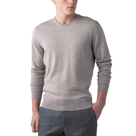 Merino Wool Crew Neck Sweater // Natural (XS)