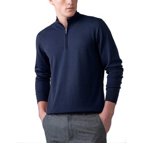 Cashmere 1/4 Zip Sweater // Navy (XS)