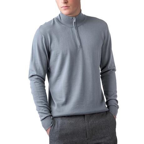 Merino Wool 1/4 Zip Sweater // Light Gray (XS)