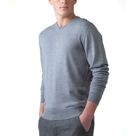 Merino Wool Crew Neck Sweater // Light Gray (XS)