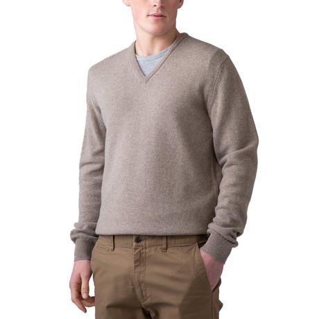 Wool V-Neck Sweater // Mushroom (XS)