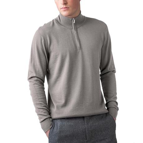 Merino Wool 1/4 Zip Sweater // Natural (XS)