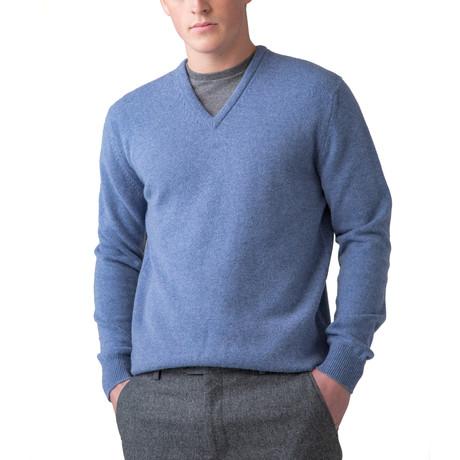 Wool V-Neck Sweater // Blue Mix (XS)