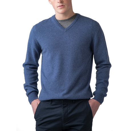 Cashmere V-Neck Sweater // Bluewash (XS)