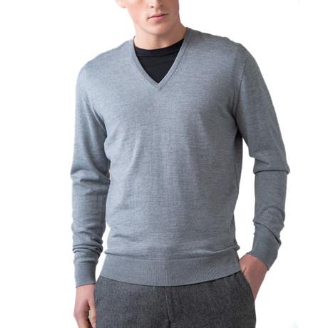 Merino Wool V-Neck Sweater // Light Gray (XS)