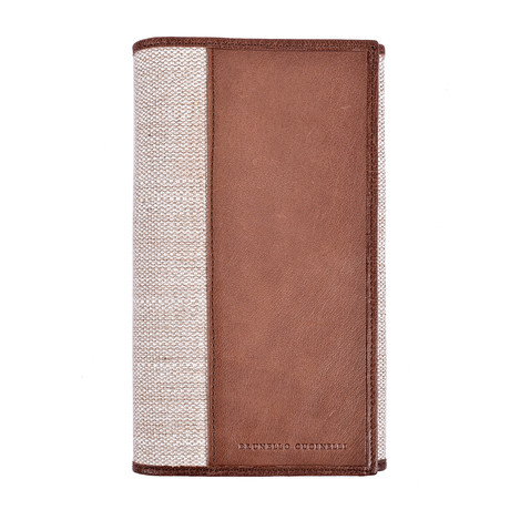 Textile + Leather Wallet // Brown