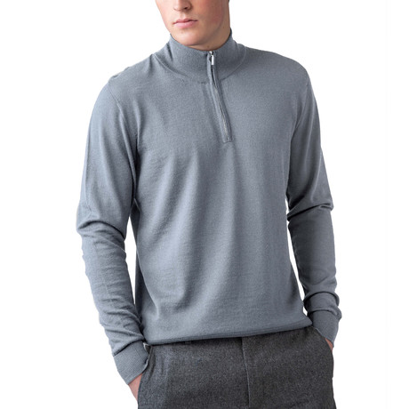 Cashmere 1/4 Zip Sweater // Silver (XS)