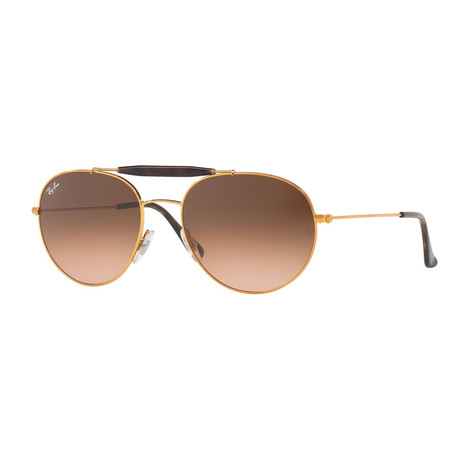 Unisex Aviator Sunglasses I // Gold + Light Brown