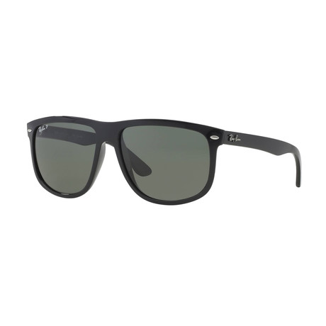 Ray-Ban // Men's Rectangular Polarized Sunglasses // Black + Green