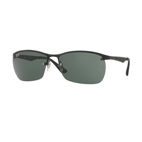 Ray-Ban // Men's Rectangular Sunglasses // Matte Black + Green